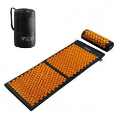 Килимок акупунктурний з валиком 4FIZJO Аплікатор Кузнєцова 128 x 48 см 4FJ0049 Black/Orange