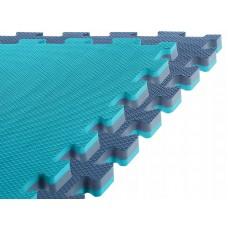 Спортивний мат-татамі (ласточкин хвіст, пазл) SportVida Mat Puzzle Multicolor 100 x 100 x 2 cм SV-HK0181 Blue/Sky Blue