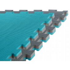 Спортивний мат-татамі (ласточкин хвіст, пазл) SportVida Mat Puzzle Multicolor 100 x 100 x 2 cм SV-HK0178 Grey/Sky Blue