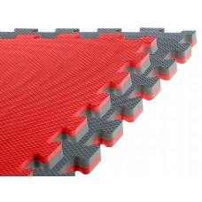Спортивний мат-татамі (ласточкин хвіст, пазл) SportVida Mat Puzzle Multicolor 100 x 100 x 2 cм SV-HK0179 Grey/Red