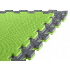 Спортивний мат-татамі (ласточкин хвіст, пазл) SportVida Mat Puzzle Multicolor 100 x 100 x 2 cм SV-HK0182 Grey/Green