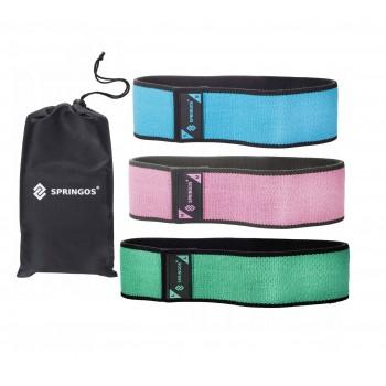 Резинка для фітнесу та спорту із тканини Springos Hip Band 3 шт FA0108
