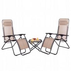 Набір 2 шт шезлонг (лежак) та столик Springos GC0008