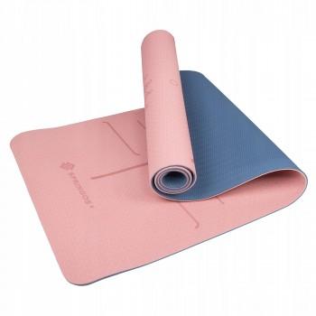 Коврик (мат) для йоги та фітнесу Springos TPE 6 мм YG0014 Pink/Blue