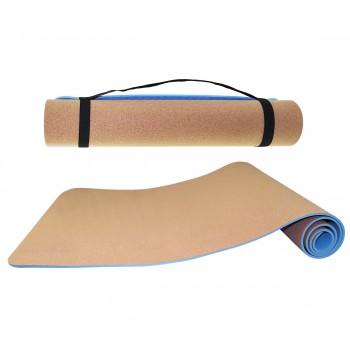Коврик (мат) для йоги та фітнесу SportVida TPE+Cork 0.6 см SV-HK0318