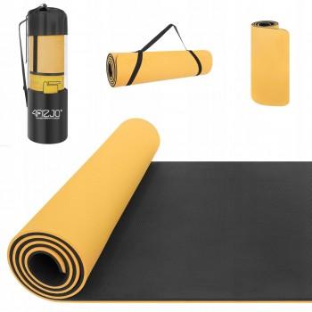 Коврик (мат) для йоги та фітнесу 4FIZJO TPE 1 см 4FJ0201 Orange/Black