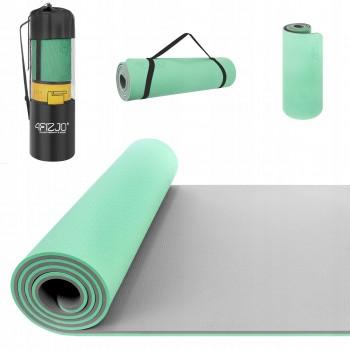 Коврик (мат) для йоги та фітнесу 4FIZJO TPE 1 см 4FJ0202 Mint/Grey