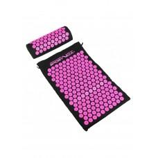 Килимок акупунктурний з валиком SportVida Аплікатор Кузнєцова 66 x 40 см SV-HK0352 Black/Pink