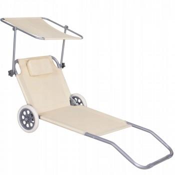 Шезлонг (лежак) для пляжу, тераси та саду з колесами та навісом Springos GC0041