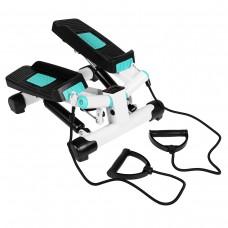 Степпер поворотний (міні-степпер) з еспандерами SportVida SV-HK0361 White/Turquoise