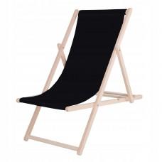 Шезлонг (крісло-лежак) дерев'яний для пляжу, тераси та саду Springos DC0001 BL