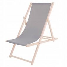 Шезлонг (крісло-лежак) дерев'яний для пляжу, тераси та саду Springos DC0001 GRAY