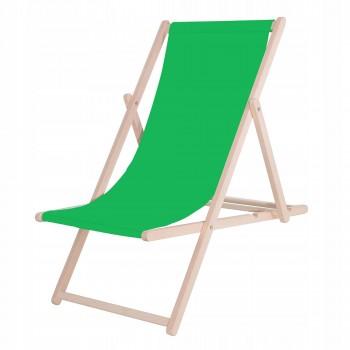 Шезлонг (крісло-лежак) дерев'яний для пляжу, тераси та саду Springos DC0001 GREEN