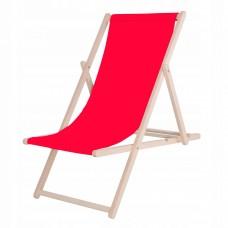 Шезлонг (крісло-лежак) дерев'яний для пляжу, тераси та саду Springos DC0001 RED